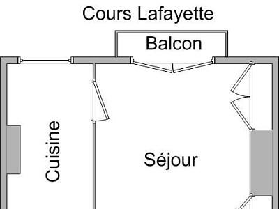 APPARTEMENT T1 A LOUER - LYON 3EME ARRONDISSEMENT - 38,69 m2 - 665 € charges comprises par mois