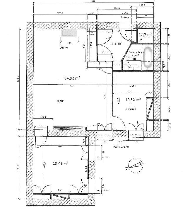 APPARTEMENT T3 A LOUER - LYON 2EME ARRONDISSEMENT - 73,06 m2 - 930 € charges comprises par mois